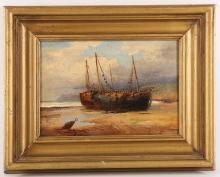A 19th Century painting of fishing boats on foreshore, 17 x 23.5cm, gilt framed.