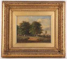 19th Century British school, oil on canvas picture of a tree lined path with people, sea in background, 19.5 x 24cm, glazed and gilt framed.