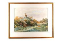 B.J.O. Oct 1888, 'Fairlight', a watercolour study of a farmhouse cottage.