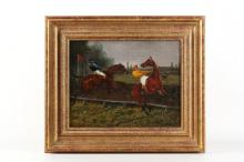 An oil on canvas painting 1888? of steeple chasers over a jump, picture size: 19.5 x 24cm, gilt framed, monogrammed and dated to lower left.