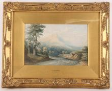 A. Coleman, an English school watercolour, figures punting within river scene, 23 x 44cm, sold with a further watercolour by C. Pearson, a river scene with mountains in background, 15 x 24cm.