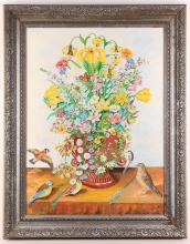 Oil on board, flowers and birds, 57 x 73cm.