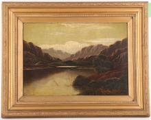 Charles Leslie 1839-1886. A pair of oil on canvas lakeland views, with foreground still waters leading to distant views. Both signed. 26 x 35cm (2).