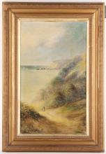 Henry Larpent Roberts 1830-1890. A pair of oil on canvas coastal marine views. Both signed and in matching frames, 50 x 30cm, A/F.