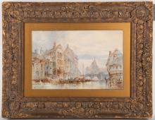 Late 19th Century Continental school. Busy river scene in a medieval town with views to a spired cathedral. Indistinctly signed lower left. Mounted and presented in a giltwood frame, 20 x 31cm.