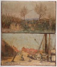 An interesting pair of late 19th Century oil on panel compositions, 'Harbour Scene', and 'Edge of an Orchard'. Both monogrammed 'A.B.' Unframed, 27.5 x 47cm (2).
