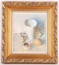Robert Bird, British b.1921, 'White Still Life', 1986, oil on canvas, late 20th Century, signed with artist's monogram, exhibited Royal Academy Summer Exhibition 1986 according to label verso, canvas: 24 x 20.5cm.