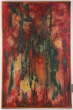 An abstract oil on canvas, title on back 'Coral Reef', and an indistinct signature, 75.5 x 49.5cm.