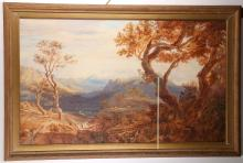 Early 19th Century English school. 'View of the Simplon from the Italian side of the Alps'. A large panoramic watercolour view with figures to the fore. Inscribed verso, dated 1824. Mounted, framed and glazed. 74 x 120cm. Together with an early 19th English school. 'Loch Lomond from Glen Falloch'. Panoramic landscape watercolour. Inscribed verso, dated 1830. Mounted, framed and glazed. 68 x 115cm (2).