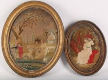 Three Regency textiles, on silk, all framed, 18th Century, children in a country landscape, oval frame, shepherds and shepherdess in a landscape, largest 45 x 53cm (3). Provenance: by repute from the Parr family, descended from Katherine Parr, wife of Henry VIII.