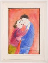 Dora Holzhandler 1928-2015 French. 'The Embrace'. Watercolour with pen and ink. Signed lower right and dated '62. Mounted and framed. 29 x 20cm.
