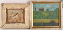 Marian Neilson, 20th Century. Horses in the landscape, pen and watercolour inscribed verso: 'For our combined movement thru Space', dated 1954. Framed, 8.5 x 10cm. Together with: 'Field, Path and Barn', small oil on panel garden scene. Monogrammed I.R. Inscribed verso. Framed 14.5 x 16cm (2).