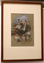 CECIL SLATER, LATE 19th CENTURY. 'Edwardian Coach Party'. A fine gouache and watercolour exterior view of an elegant coach party. Signed lower right. Mounted and framed. 30cm x 21cm.