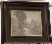 ROBERT RUSSELL MACNEE 1880-1952. 'A River View'. Atmospheric oil on artist board. Signed lower left. In a good ebonised wood frame, glazed. 25cm x 29cm.