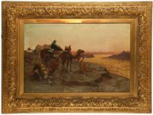 L. CARTIER, LATE 19TH CENTURY. 'A Bedouin Camp', and 'Out of the Sandstorm'. A pair of oil on canvas desert scenes. Both signed and in matching giltwood frames with engraved nameplates. 50cm x 78cmn. (2).
