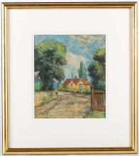 HERCULES BRABAZON BRABAZON N.E.A.C. 1821-1906. 'Continental View'. Pastel exterior view of a country house under blue skies. Monogrammed lower left. Mounted and framed. 22.5cm x 19.5cm.