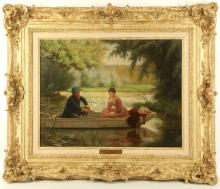 ALBERT JULES EDOUARD 1845-1919. 'A River Serjourn'. Oil on canvas. In a shaded backwater a pensive young lady considers her companion, who is pre-occupied fishing. Signed lower right. In a fine gilt frame. With engraved nameplate. 50cm x 64cm.
