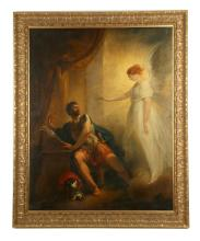 WILLIAM HAMILTON R.A. 1751-1801. 'The Angel Appearing to Cornelius' circa 1798. Oil on canvas, Cornelius is urged to seek out St. Paul. Later engraved by James Thompson for inclusion in Thomas Macklin's bible. On original stretcher embossed J. Speider. 128cm x 102cm.