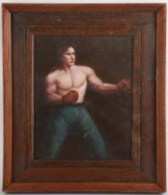 An oil painting study of a boxer, in studio frame, 24.5 x 19cm.