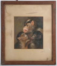 An oil painting study of a troop of monkeys, 22.5 x 20cm.