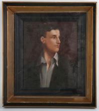 An oil painting portrait of world war one poet, Siegfried Sassoon, 23.5 x 19.5cm.