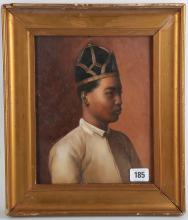 An oil painting portrait of a central Asian monarch, gilt framed, 24.5 x 19.5cm.