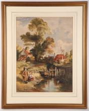 Three watercolours by different hands, one by Mary Martineau 1842-1902, depicting fishermen by rocky pool, and a second example by Baintree with children fishing in village stream - signed, and W. Swillan - a French chateau view (3).