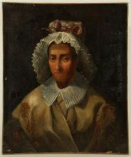 RARE AND UNUSUAL EARLY 19TH CENTURY OIL ON CANVAS PORTRAIT, of a man in women's clothing. The sitter wearing lace bonnet with bow, lace collar and a Spittalfields style silk embroidered shawl. Unsigned. Re-lined and on a later stretcher.65cm x 54cm.  Footnote: By family repute, it is believed that this may be a late sitting by the celebrated French spy, Chevallier d'Éon.