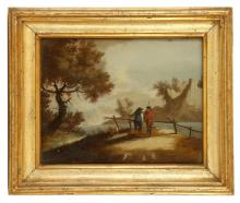 CIRCA LATE 18TH CENTURY, POSSIBLY ITALIAN. A set of four reverse glass painted landscape views. In matching giltwood frames. 20cm x 25cm (4).