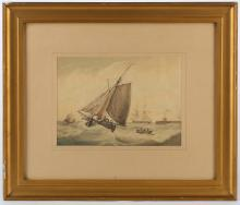 Samuel Alken 1756-1815. 'Leaving Harbour', watercolour and body colour marine scape. Signed lower left. Mounted and framed. Together with 'Flagships', watercolour and body colour in the oval, attributed to Alken. Framed. 16 x 22cm and 29 x 43cm.