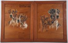 R. Roussel, mid 20th Century French school. An interesting selection of oil on panel dog portraits: Terriers, Great Danes, Irish Setters, Hunting Hounds. All signed, and dated '46. In matching wood frames, 38cm x 28cm (4).