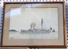 Scott Maxwell, a pair of late 19th Century sailing Oriental war ships, watercolours, signed and dated 1883, 36 x 25cm (2).