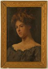 EDUARDO GALLI 1854-1920 ITALIAN. 'Portrait of a Woman'. Oil on panel, the sitter with auburn hair tied above her head in a grey dress. Inscribed and signed. Framed: 31.5cm x 21.5cm.