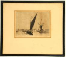 Circa late 18th Century English school. A good pen and ink wash drawing of a three masted armed schooner ('a full rigged ship'), possibly of the Mediterranean Fleet. On laid paper. Unsigned. 36 x 19cm. Together with a dry-point etching of a gaff-rigged Norfolk barque. Pencil signed. Mounted and framed. 15 x 21cm (2).