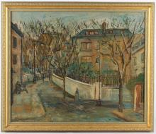 Late 19th Century French school, follower of Utrillo. Interesting oil on milled board, Paris street view (retro), with a study of promenading figures in a tree lined avenue (verso). Unsigned, Framed. 60cm x 50cm.