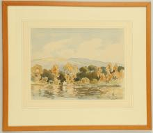 Percy Lancaster R.I., A.R.E. 1878-1951. 'The Boat House, Loughrigg Tarn' and 'River Landscape'. Watercolour and pencil. Both signed. Mounted and framed. 18 x 37cm, and 23 x 30cm (2).