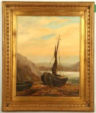 Late 19th Century English school. 'Shoreline Fishing Boat'. Oil on canvas marine scape. Indistinctly monogrammed: 'H.E.T.'? Dated 1887. 50 x 40cm. In a good giltwood frame with slip.