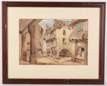A late 19th Century Continental watercolour of an ancient town centre, indistinctly signed to lower left, mounted, glazed and framed, 23 x 35cm, sold with a typical English winter farmhouse scene, 23 x 33cm, and a view of a mountain stream, 15 x 22cm (3).