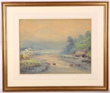 Y. Tatsuro, a pair of early 20th century watercolours, river views with a mist enveloped hall in the background, 31cm x 40cm
