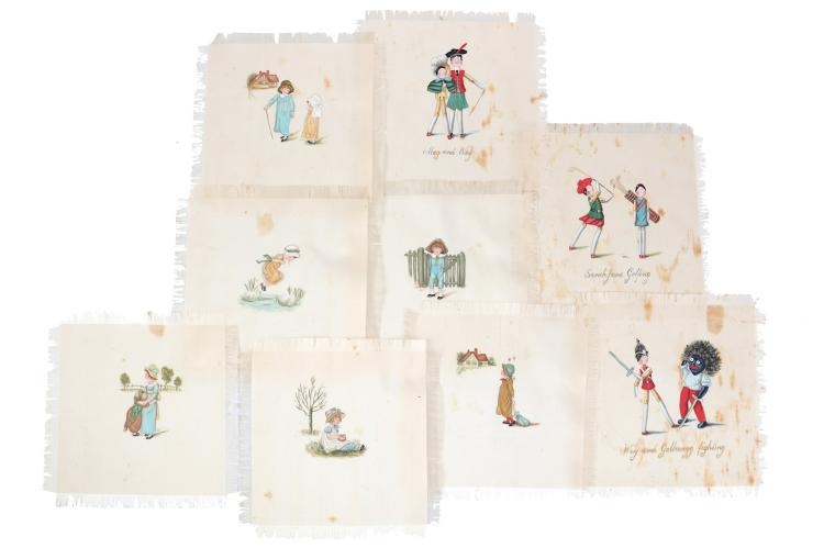 Collection of silk 'handkerchiefs'   3 handkerchiefs with images after Kathleen Ainslee of Sarah Jane Golfing, Weg and Golliwog Fighting, Meg and Weg another 6 after Kate Greenaway with another 5 comical 'black' cartoons, together with 12 images of viewof Japan, most fringed at edges, some slight staining, various sizes, 100 x 700 mm to 140 x 140 mm, n.p., n.d. (26)