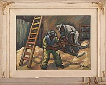 """Dezso Koenig (1902-1972), 'The Grain Shovellers', oil on canvas, signed lower right, 15½ x 11½"""", in"""