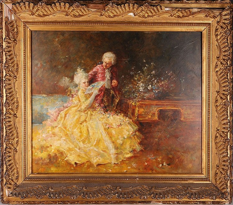 Salvador Sanchez Barbuda (1857-1917), 'The Fan', oil on panel, study of a lady in yellow dress with