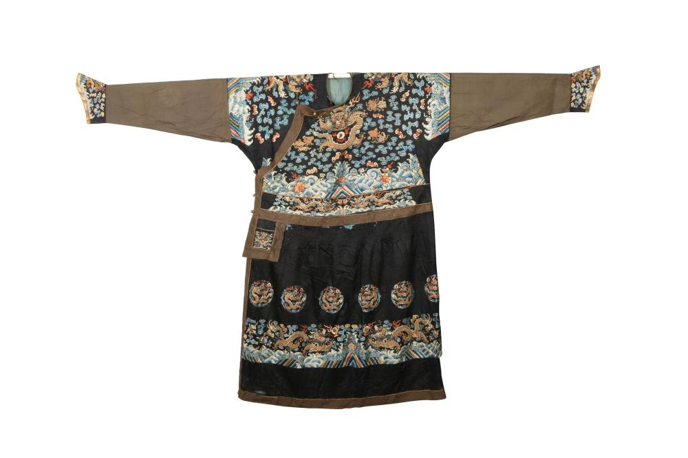 A RARE IMPERIAL CHINESE MIDNIGHT BLUE-GROUND FORMAL 'DRAGON' ROBE, CHAOFU.