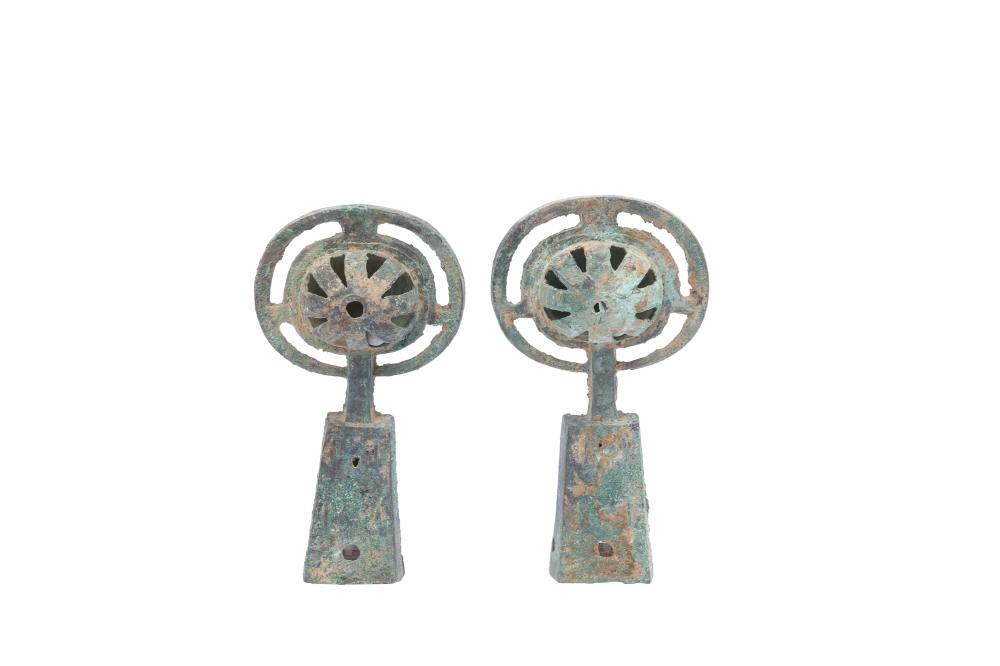 TWO CHINESE BRONZE CHARIOT BELLS.