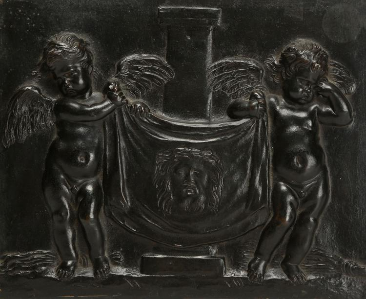 ATTRIBUTED TO ERCOLE FERRATA (ITALIAN, 1610-1686) OR DOMENICO GUIDI (ITALIAN, 1625-1701): A MID-17TH CENTURY ROMAN BRONZE PLAQUE SHOWING A PAIR OF MOURNING CHERUBIM HOLDING UP THE VEIL OF ST VERONICA  of rectangular form, one of the cherubim wiping away a tear, with a plain column behind,  18cm x 21.5cm    PROVENANCE: CHARLES AVERY COLLECTION  Charles Avery is a specialist in European sculpture, particularly Italian, French, English, Flemish and Dutch. A graduate in Classics at Cambridge University, he obtained a Diploma in the History of Art at the Courtauld Institute and a doctorate for published work from Cambridge.   Having been Deputy Keeper of Sculpture at the Victoria and Albert Museum for twelve years (1966-79), and a Director of Christies for ten years, since 1990 he has been a highly respected, independent historian, consultant, writer and lecturer.   His books include 'Florentine Renaissance Sculpture', 1970, 'Giambologna the Complete Sculpture', Phaidon, 1987, 'Donatello: An Introduction', John Murray, 1994; 'Bernini, Genius of the Baroque', Thames and Hudson, 1997 (paperback, 2006),  and 'The Triumph of Motion: Francesco Bertos', 2008.   Previous provenance: Edward Cheney, Badger Hall, Shropshire; Francis Capel-Cure Collection (sold London, Christie's, 4 May 1905, lot. 54).  Comparative Literature:   Oreste Ferrari and Serenita Papaldo,'Le Sculpture del Seicento a Roma', Rome, 1999, p.8; Cristiano Giometti, 'Museo Nazionale di Palazzo Venezia, Sculture in Terracotta', Rome, 2011, pp. 44-45, 57-58; Tim Knox, 'Edward Cheney, 'Badger Hall: a forgotten collector of Italian sculpture', in Sculpture Journal, 16.1, 2007, pp. 5-20.   This apparently unrecorded incuse-cast plaque is almost certainly identical with one that was in the distinguished English collection of Edward Cheney of Badger Hall, Shropshire, for its description in a later sale catalogue corresponds closely, as do its measurements in inches:  A RECTANGULAR BRONZE PLAQUE, cast with two figures of Cherubs holding the handkerchief of Saint Veronica – 7in. by 8½ in – Italian, early part of the 17th century.   The cherubim flank a short column recalling the one against which by tradition Jesus was tied when being whipped at the command of Pontius Pilate during the Passion, after he personally had found him 'not guilty', as is corroborated by the symbolic Instruments of the Passion lying on the ground to either side, a leather 'cat of nine tails' to the left and a bundle of twigs to the right. The present tentative attribution to Ercole Ferrata or Domenico Guidi is based on its thematic and stylistic similarity to a set of eight – much bigger - marble reliefs (four by each artist) that are set over the small doorways (porticelle) round the choir of Borromini's major Roman church of Sant'Agnese in Agone, on Piazza Navona, Rome. These depict plump, adorable and sprightly cherubim in flight bearing the symbolic instruments of Agnes's martyrdom, a sword, a brazier a lamb and so forth, for which Ferrata was paid in 1658 and Guidi in 1669.   A cast in gilt stucco from a preliminary model for the panel showing Two Cherubim with the Lamb of God in the Museo di Palazzo Venezia is as wide as this plaque is high (21.5cm), which indicates that this was a scale at which the sculptors in question were used to working (Giometti, 2011, pp.57-58, no. 39). Another relief there, St Agnes appearing to St Constance, in the same material (Giometti, 2011, pp. 44-45, no. 19), but by Algardi, clearly indicates the ultimate stylistic source of this type of cherub, the work of two of the triumvirate of great sculptors active in Rome, François Duquesnoy and Algardi.   St Veronica was a woman of Jerusalem who wiped the face of Christ with her veil while he was on the way to Calvary.  According to early Christian tradition, though there is no historical evidence or scriptural reference, the cloth was imprinted with the image of Christ's face and became one of the most revered relics of the