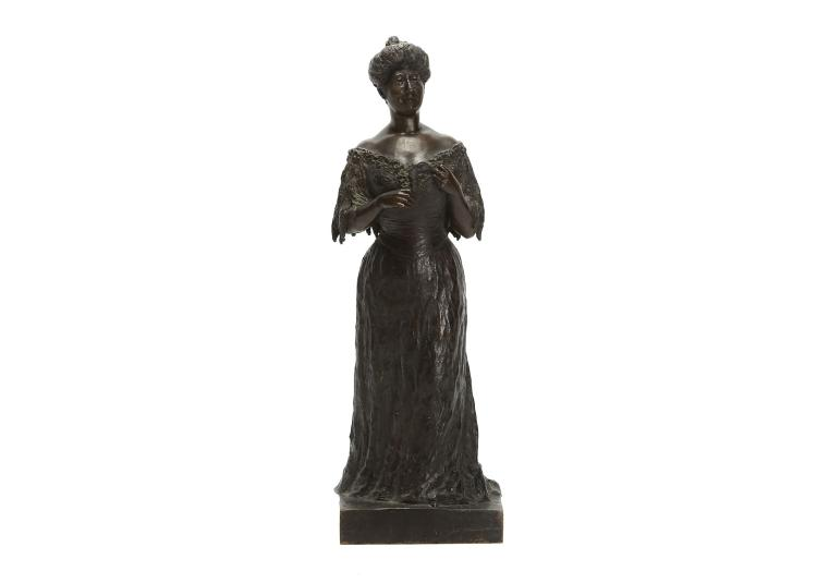 ALEXANDER ZEITLIN (RUSSIA, 1872-1946): A BRONZE FIGURE OF A  LADY WITH OPERA GLASSES DATED 1906  wearing an evening dress, on a square integral base, signed 'A. Zeitlin 1906', dark brown patination,   43cm high