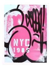 SEEN (AMERICAN b.1961), 'NYC 1985', 2018, spraypaint on un-stretched canvas, signed and dated verso, (71 x 66cm)
