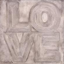 BEN EINE (BRITISH b.1970), 'LOVE', 2009, woodblock carving,signed and dated in pen, (39.5 x 39.5cm)