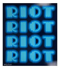 BEN EINE (BRITISH b.1970), 'RIOT', 2015, screenprint in colours, signed, dated and numbered from and edition of 25 in white pen, with blind stamp, (sheet: 85 x 74cm)