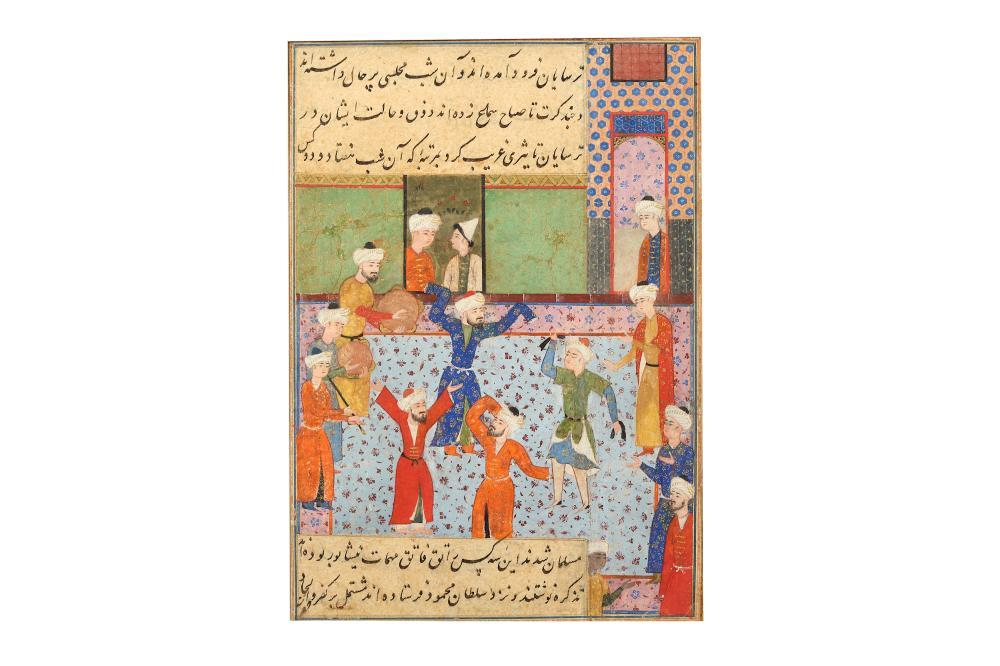 AN ILLUSTRATED MANUSCRIPT FOLIO: A SCENE OF SAMA' (SUFIC RAPTUROUS MEDITATIVE DANCE) Safavid Iran, 17th century